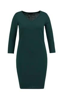 MS Mode ribgebreide jurk donkergroen