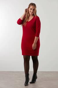 MS Mode ribgebreide jurk rood, Rood
