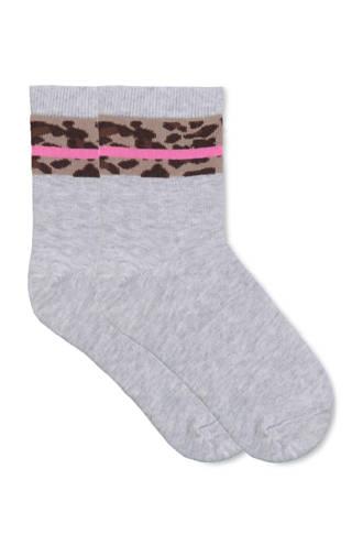sokken met luipaardprint grijs