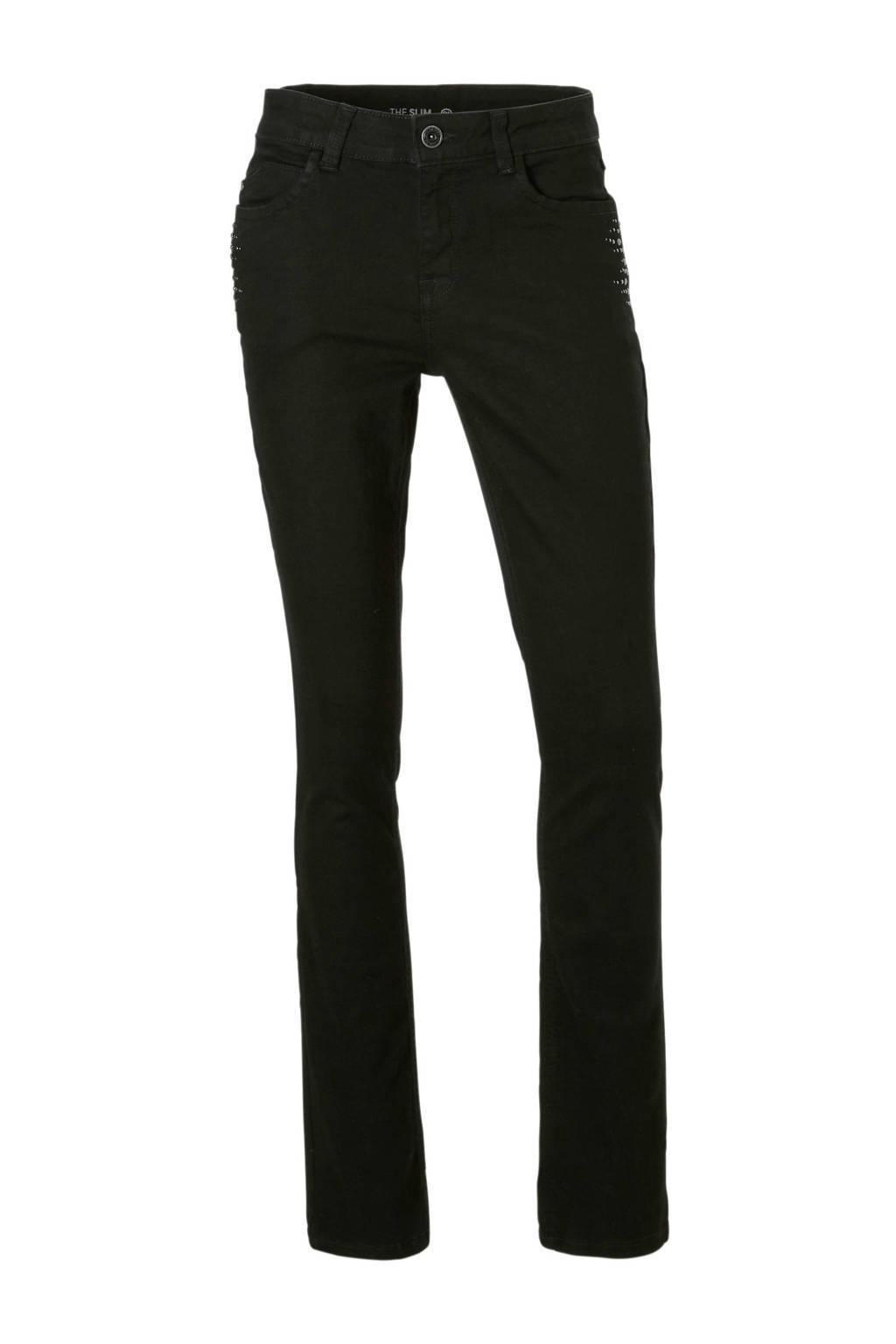 C&A The Denim slim fit jeans met studs zwart, Zwart