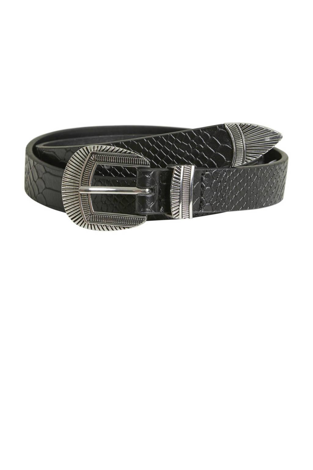 OBJECT riem met slangenprint, Zwart/zilver