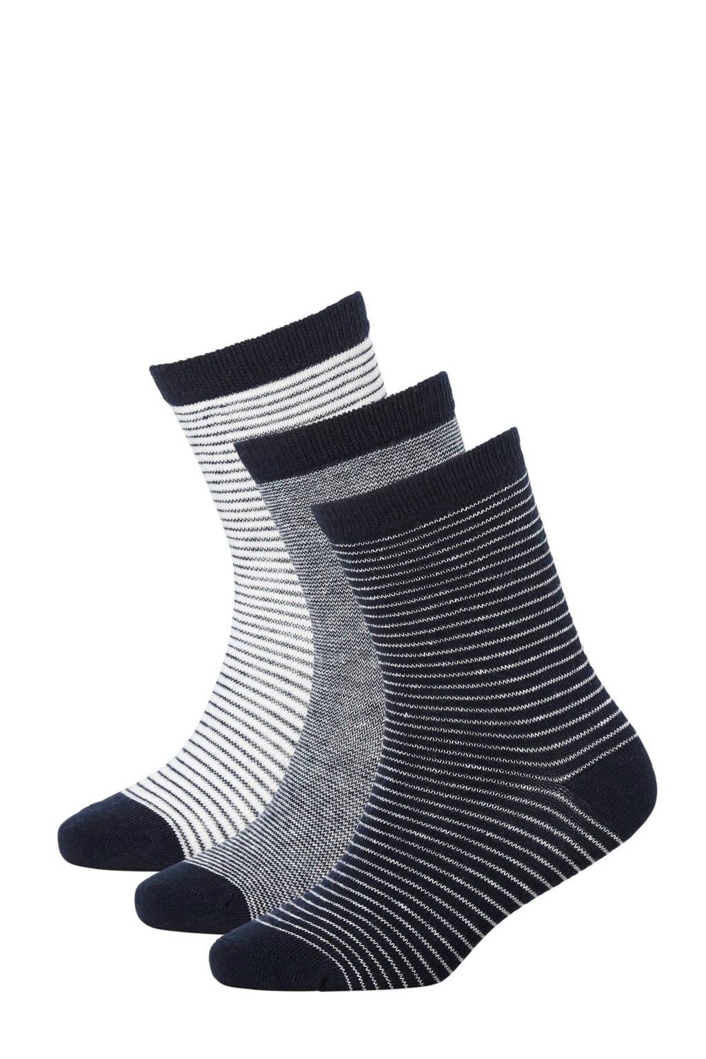 Apollo sokken ( 3 paar) marine, Marine/wit