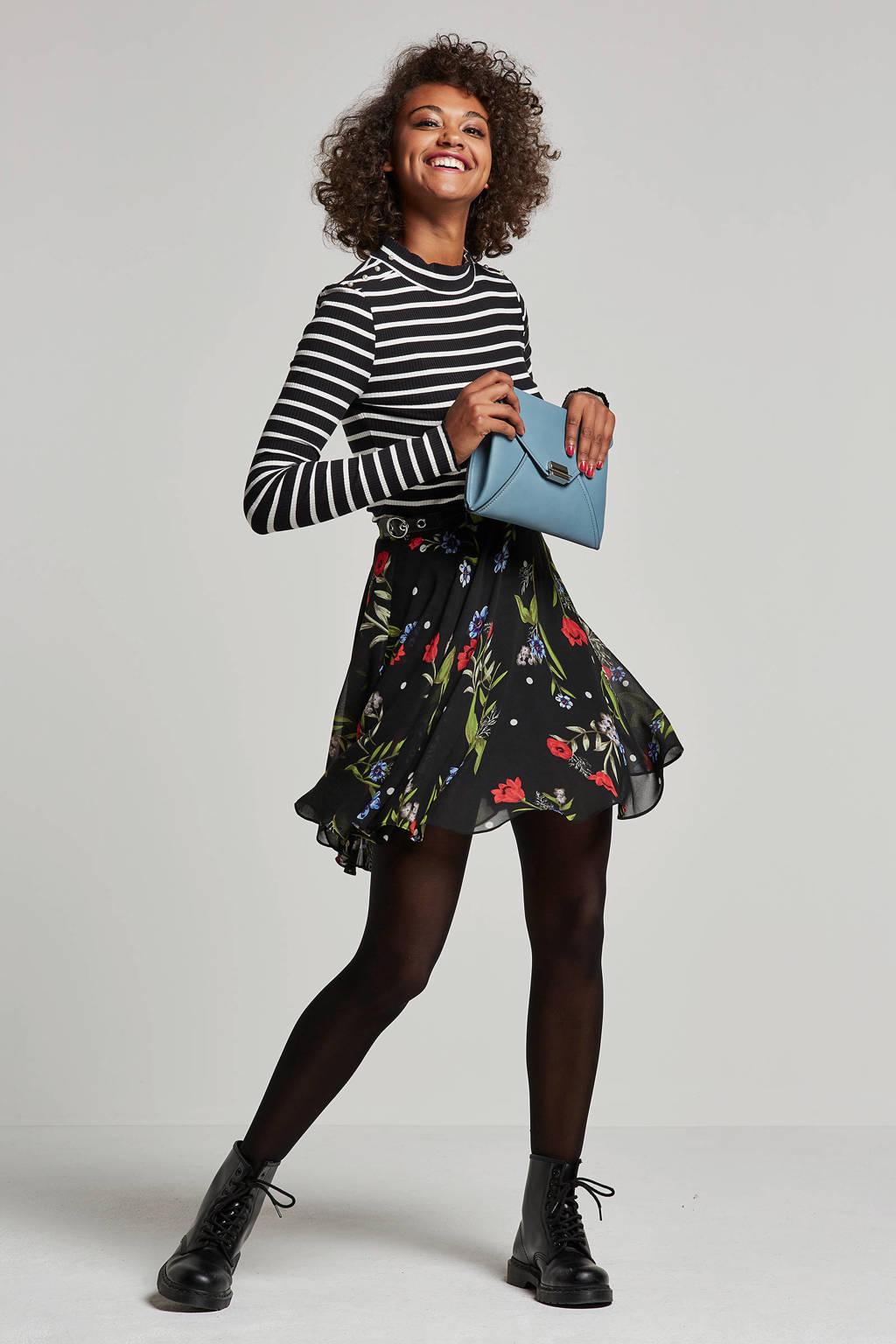 GUESS rok met bloemendessin, Zwart/rood/groen/blauw