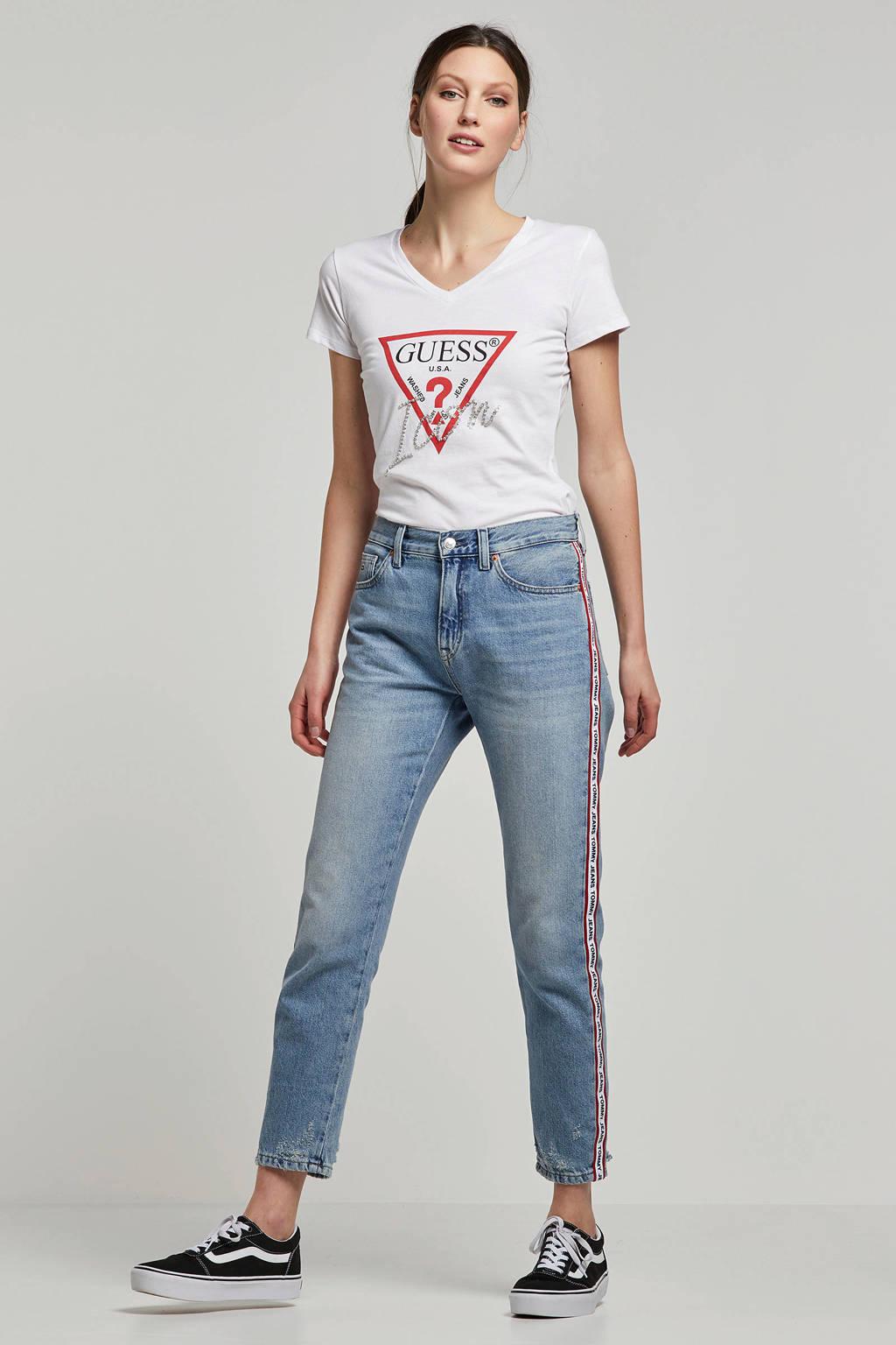GUESS T-shirt met logo en siersteentjes, Wit/rood/zilver