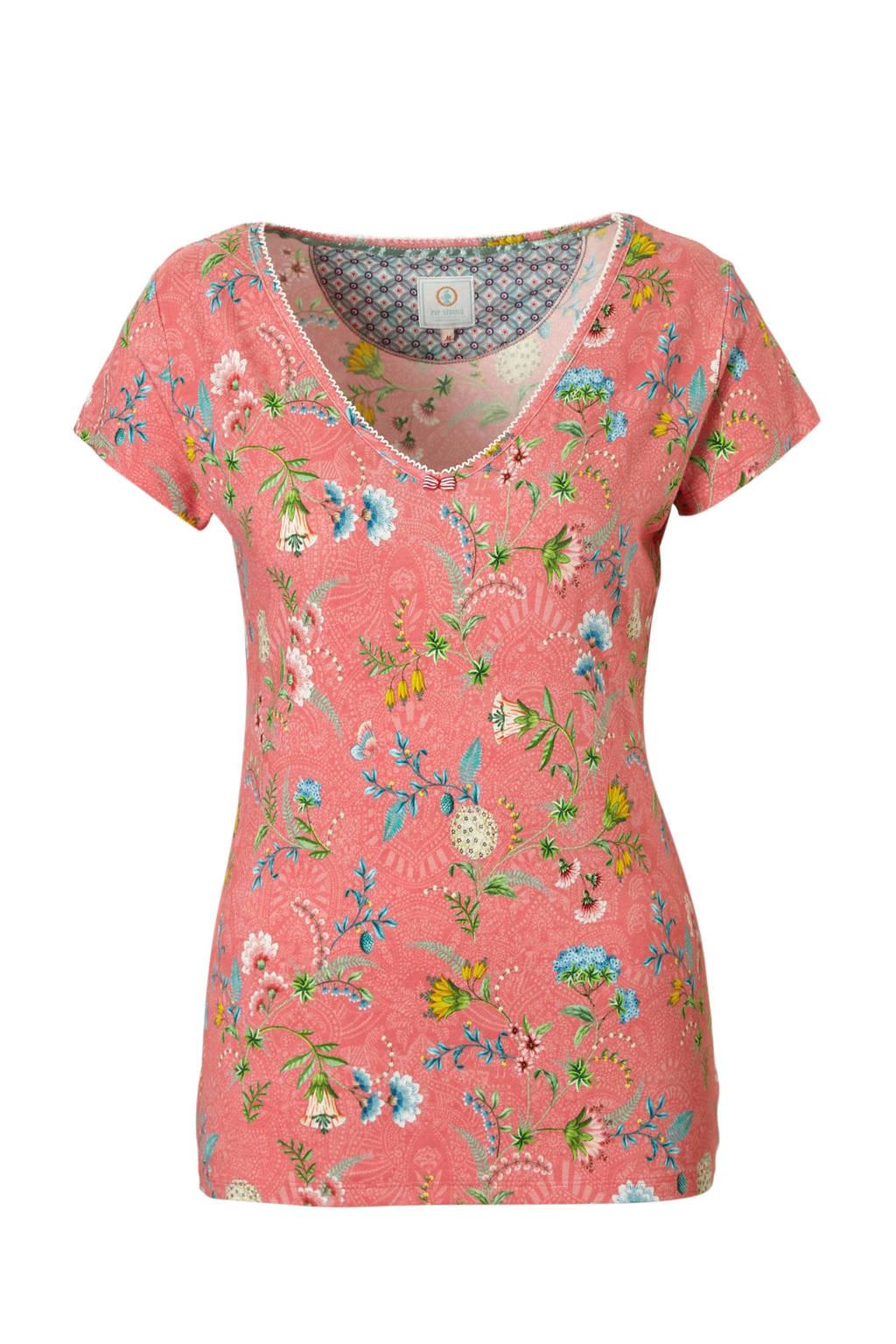 Pip Studio pyjamatop met all-over print roze, Rzoe