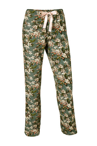 pyjamabroek met all-over print groen