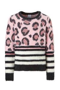 C&A Here & There gestreepte trui met panterprint, Roze/zwart/wit