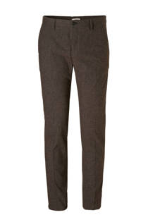Mango Man geruite slim fit chino donkerbruin (heren)