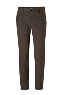 geruite slim fit chino donkerbruin