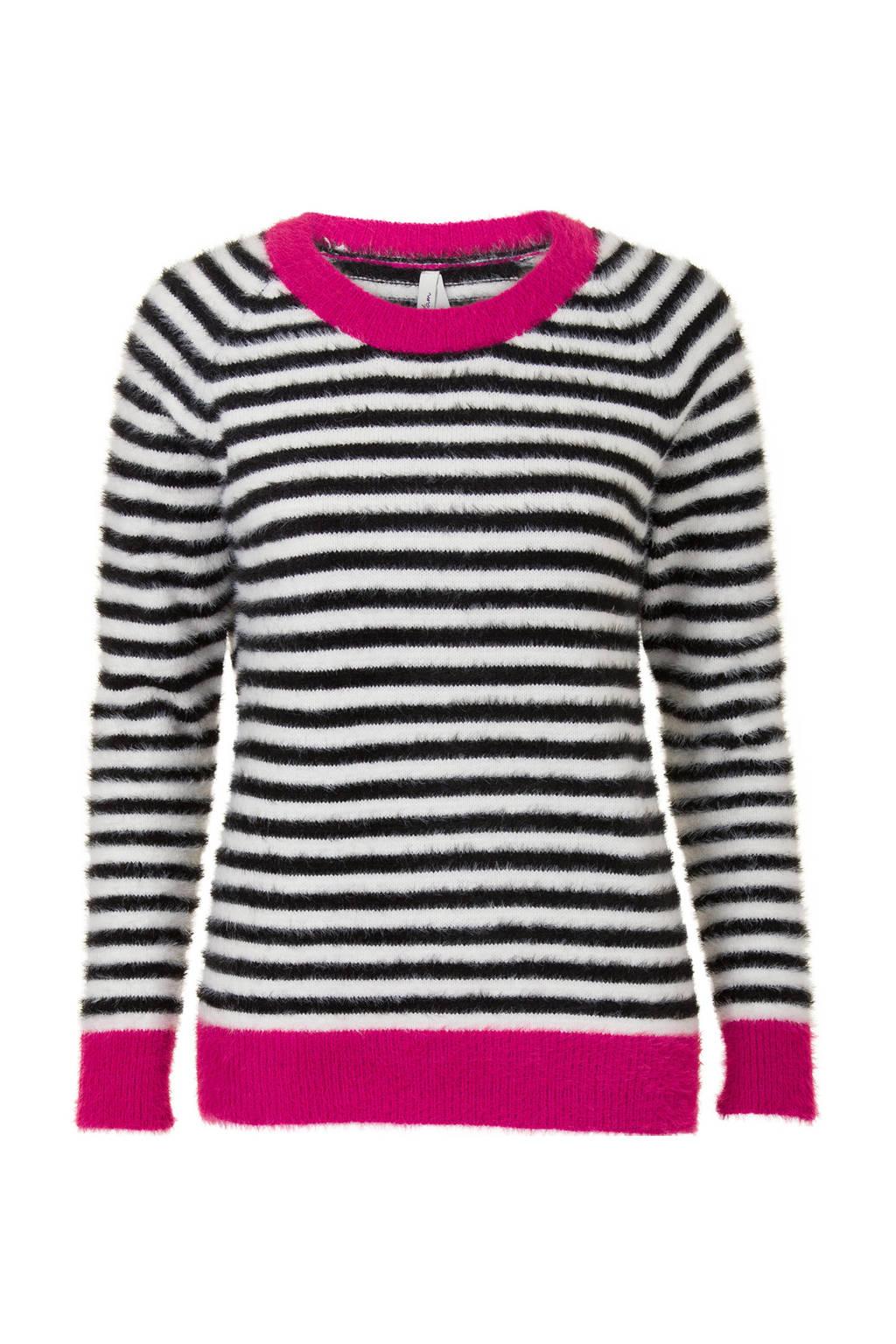 Miss Etam Regulier gestreepte trui roze, Roze/wit/zwart