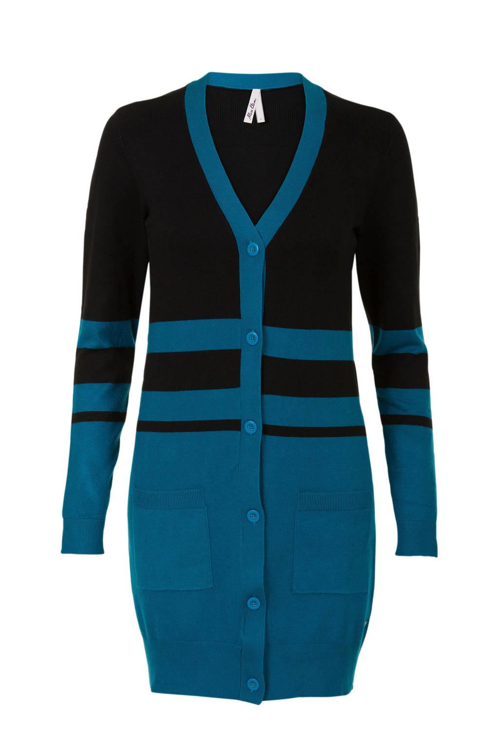Miss Etam Regulier tweekleurig vest blauw, Blauw/zwart