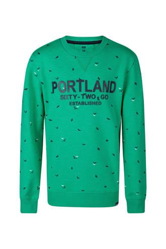sweater met vogels groen