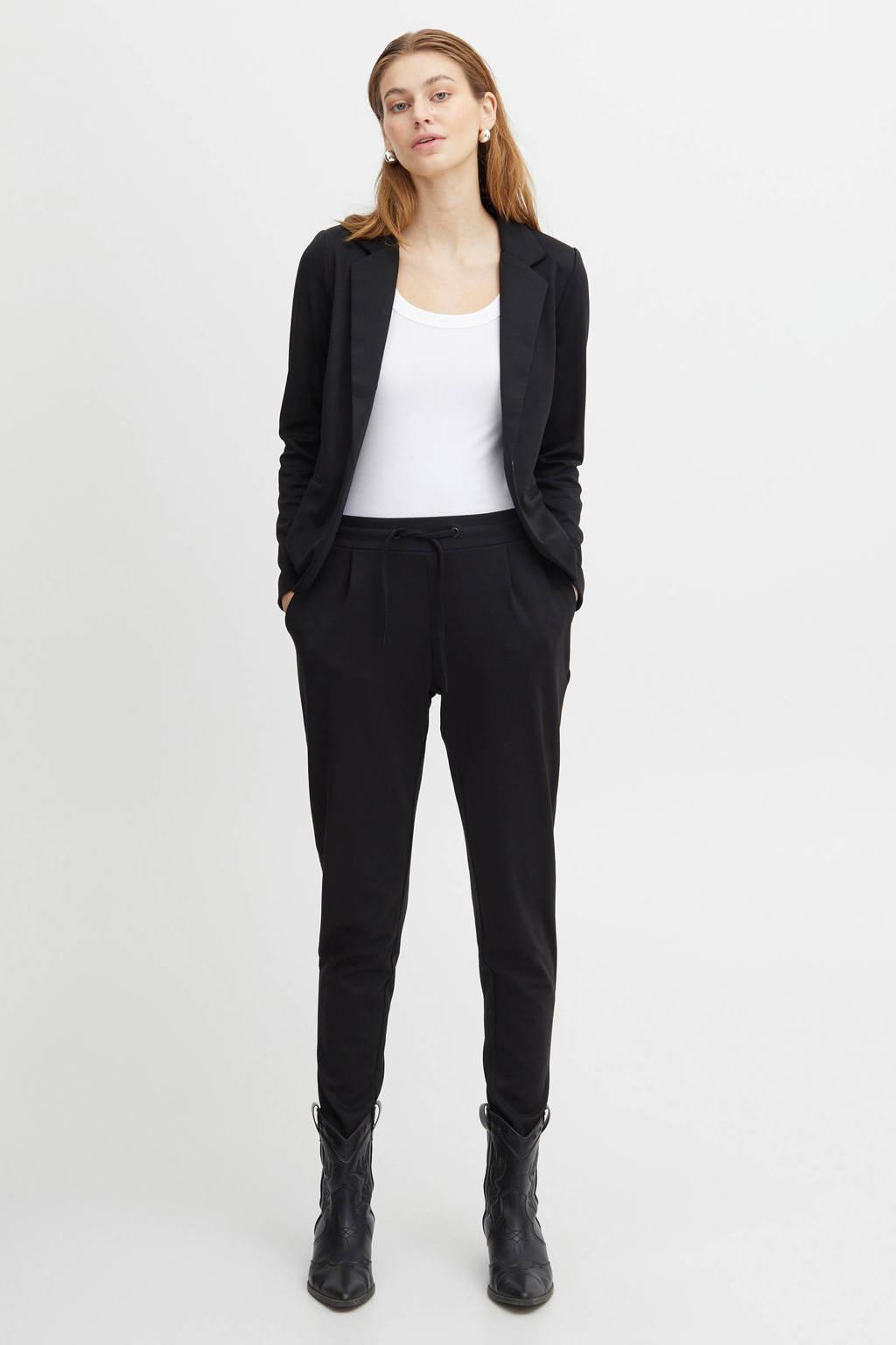 ICHI slim fit broek zwart, Zwart