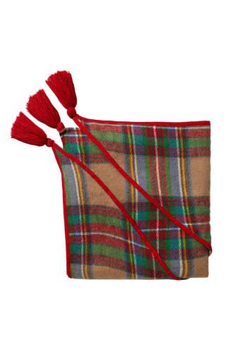sjaal Checks met kwasten rood