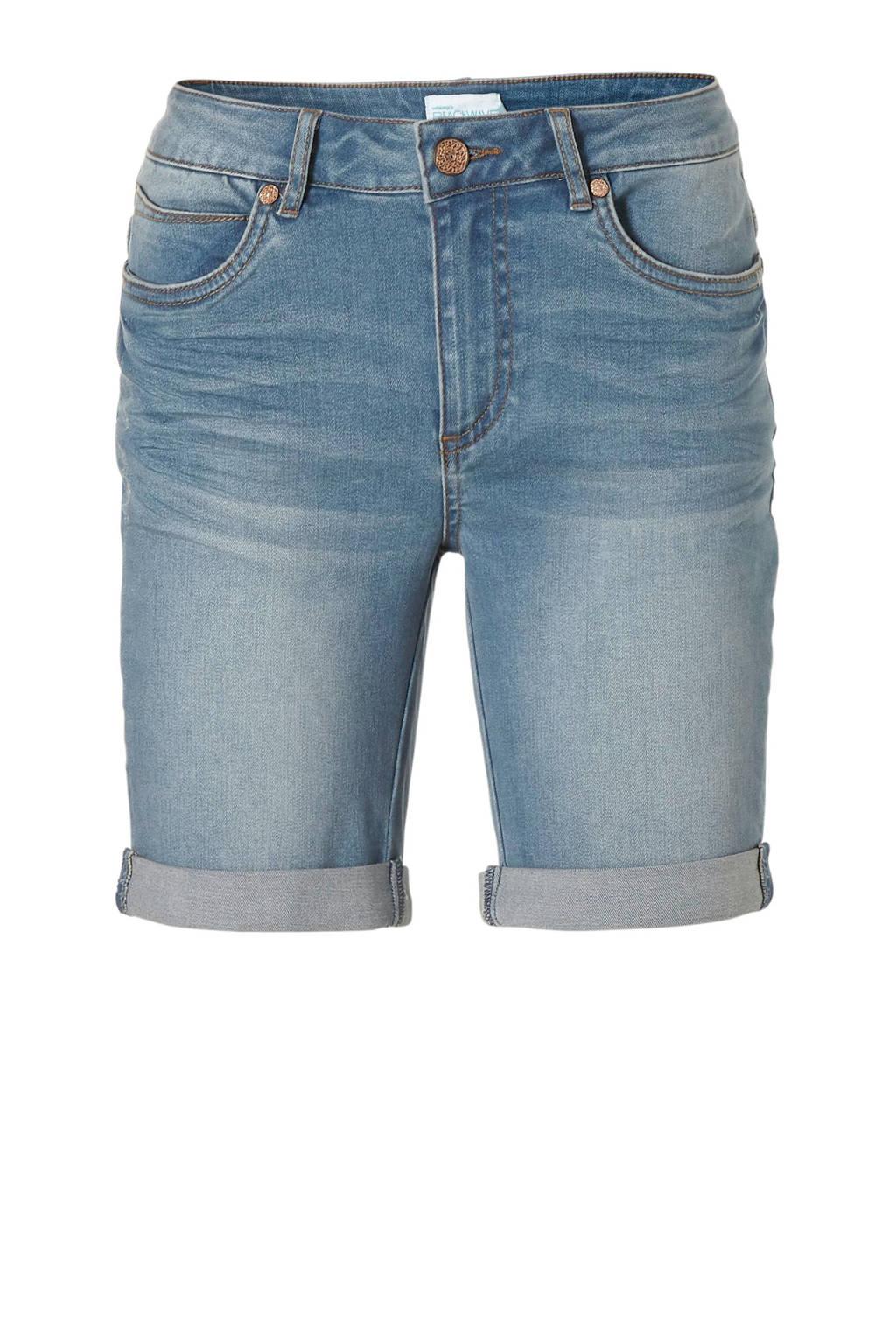 whkmp's beachwave slim fit jeans short, Stonewashed blauw