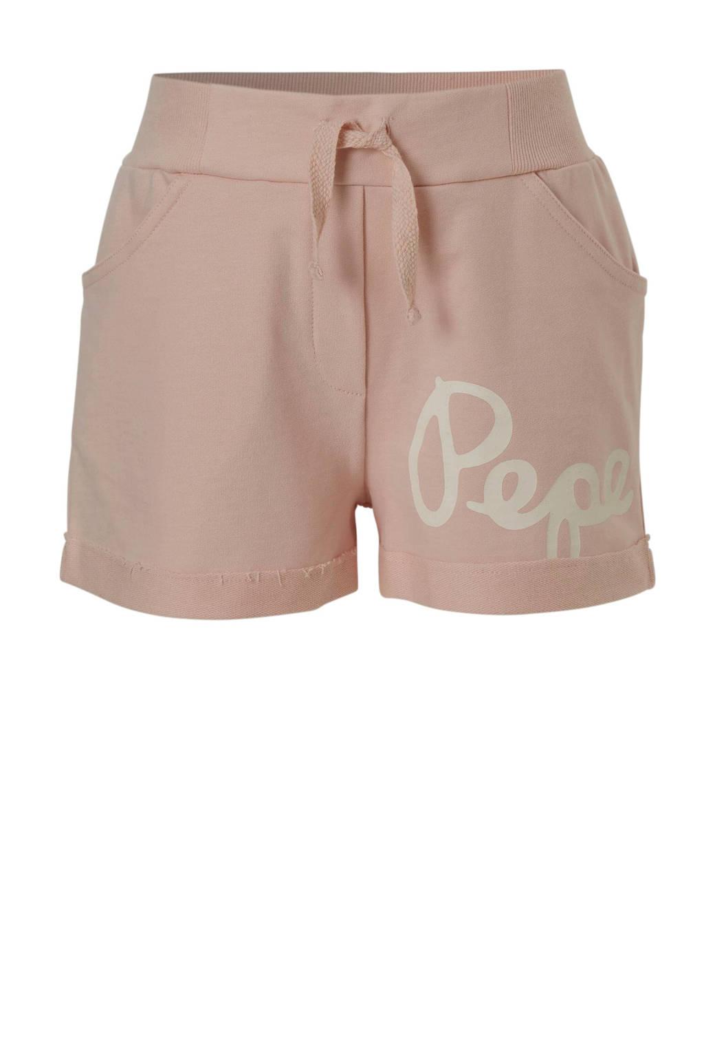 Pepe Jeans sweatshort met logo lichtroze, Lichtroze