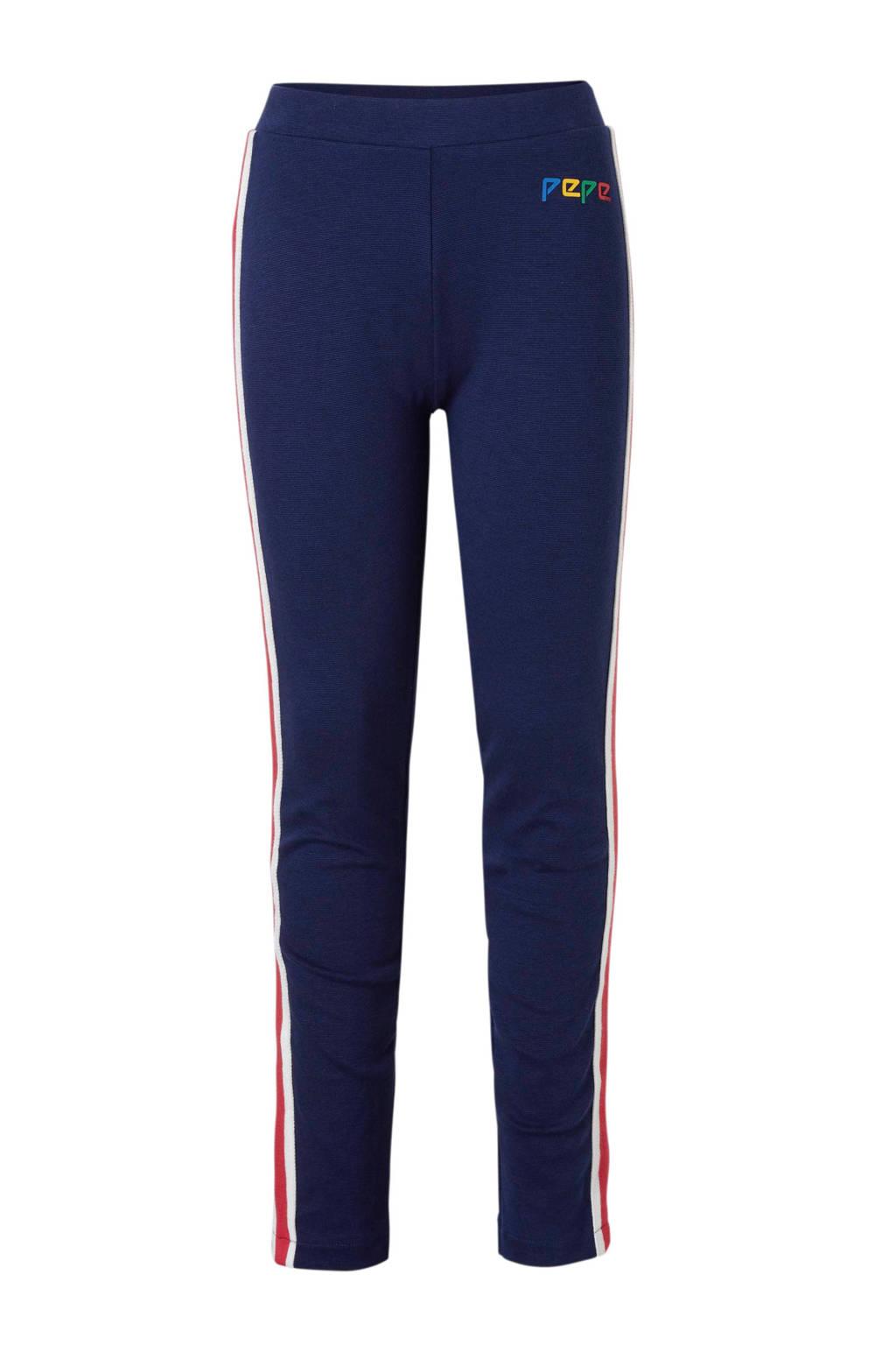 Pepe Jeans broek met contrastbies Alba donkerblauw, Donkerblauw