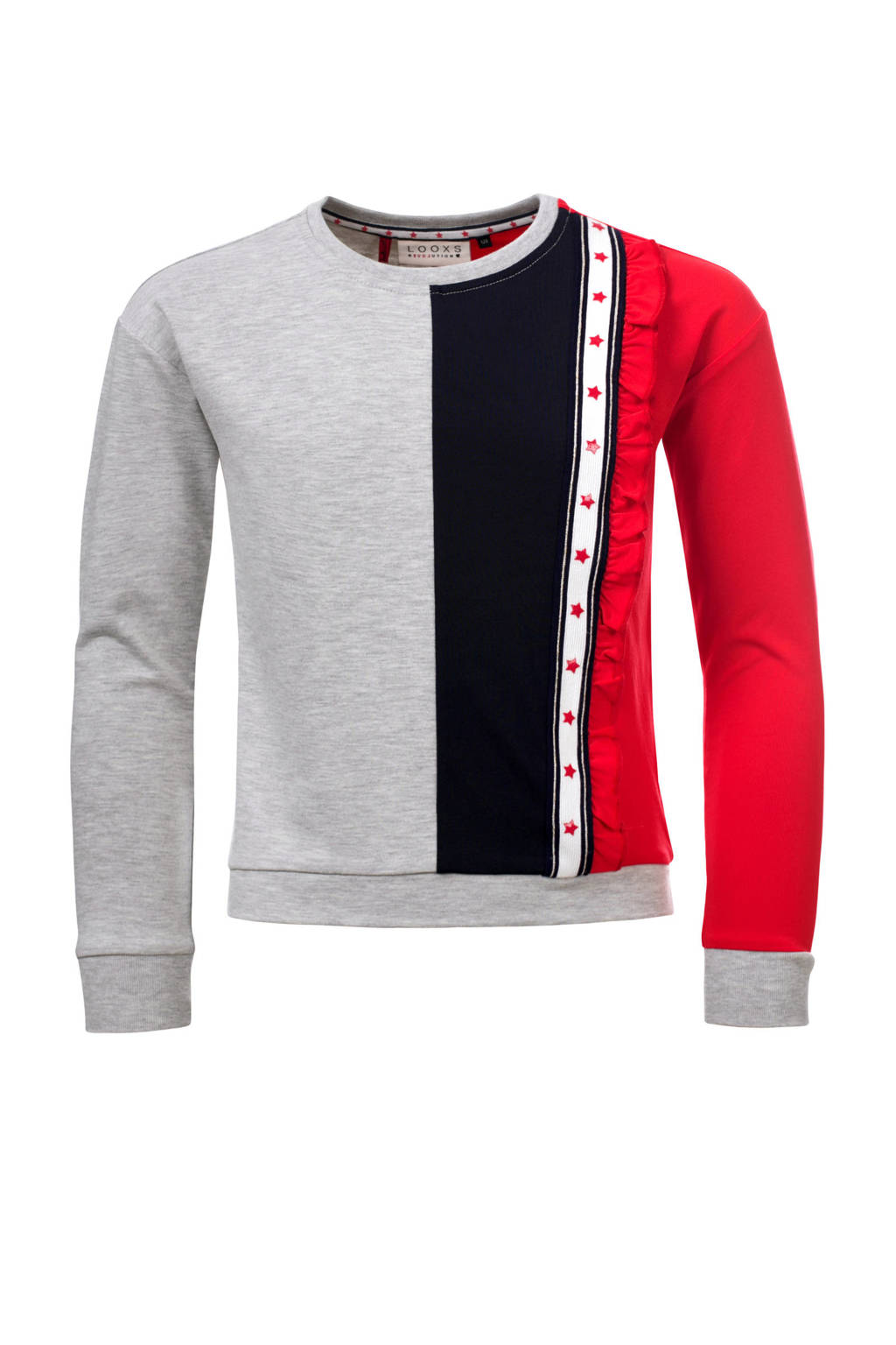 LOOXS sweater met bies, Grijs melange/rood/blauw