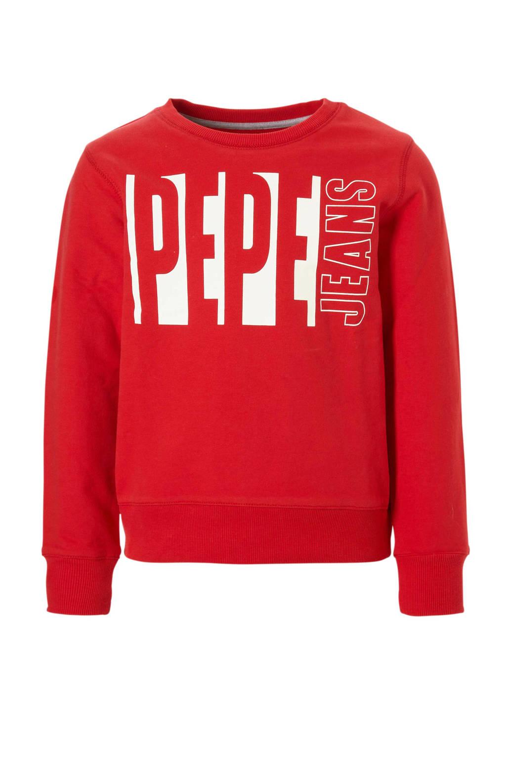Pepe Jeans sweater met logo Mick rood, Rood