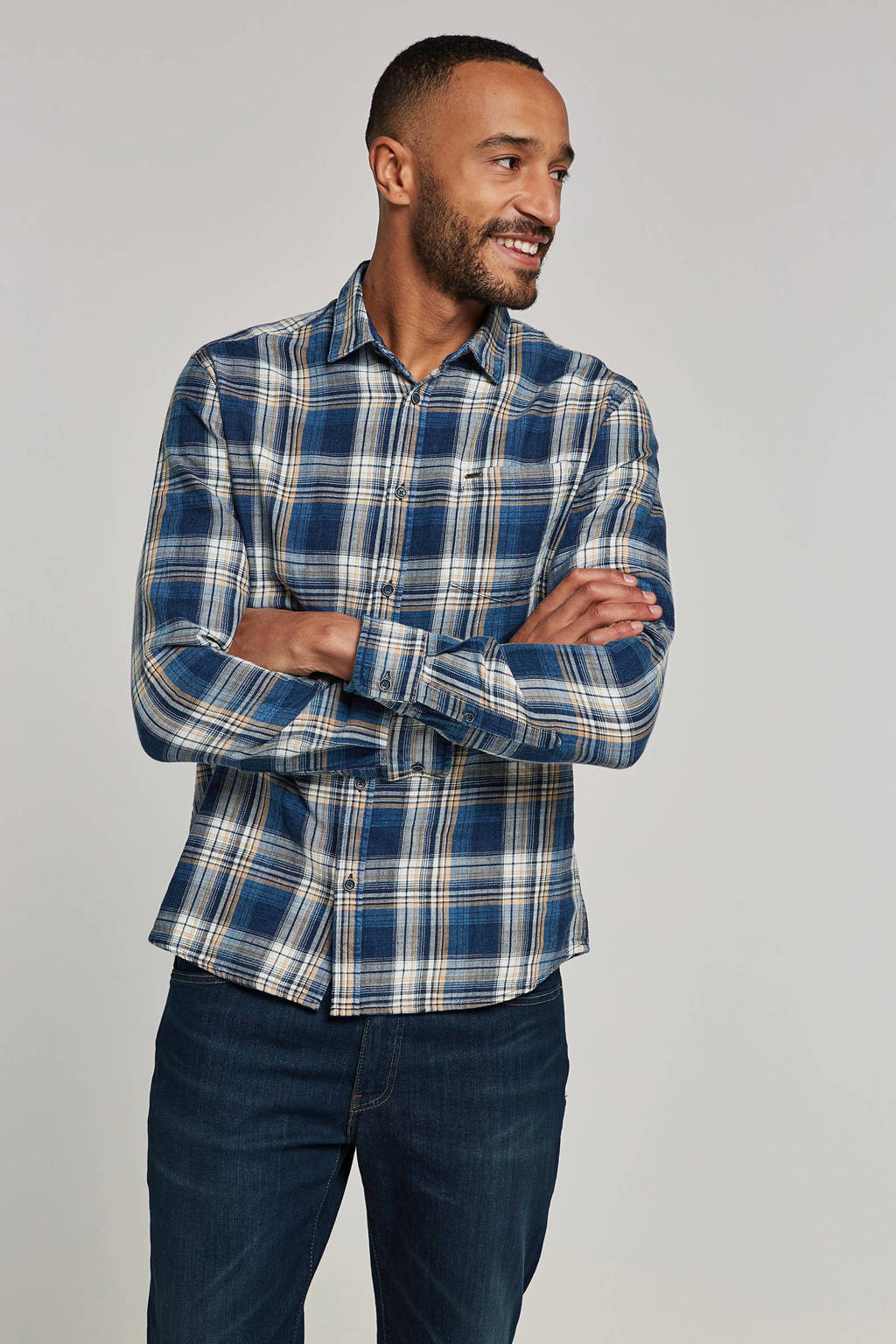 Only & Sons slim fit overhemd, Blauw/geel