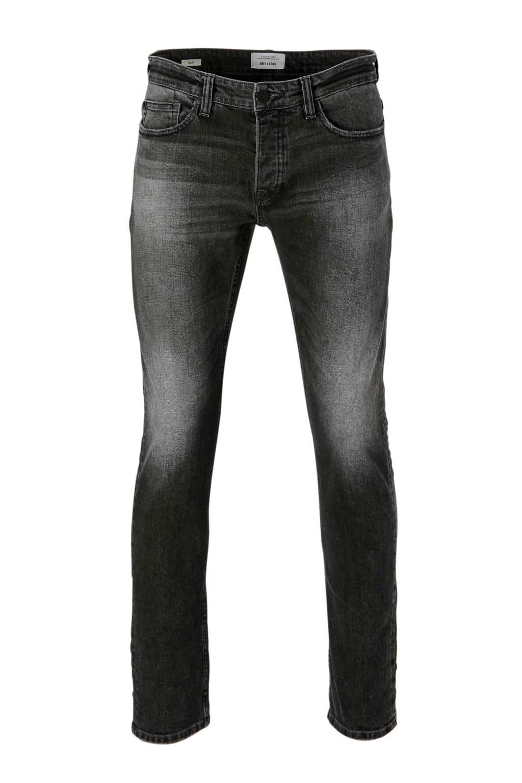 Only & Sons regular fit jeans, Grijs/zwart