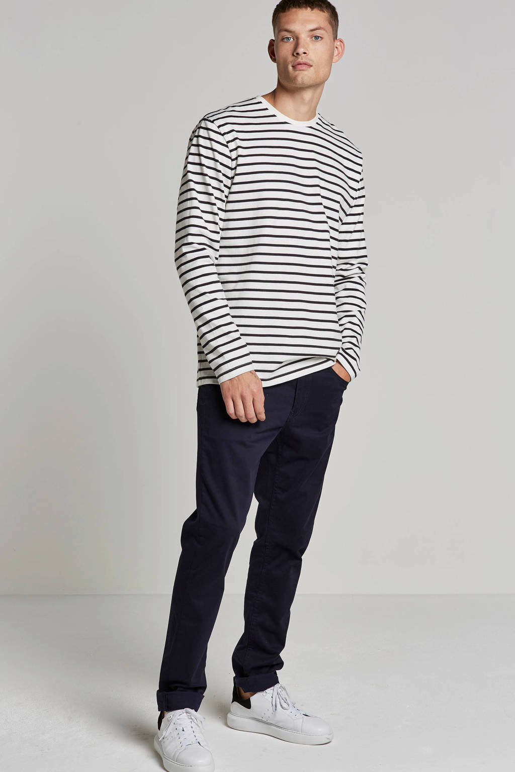 Only & Sons t-shirt longsleeves, Wit/zwart