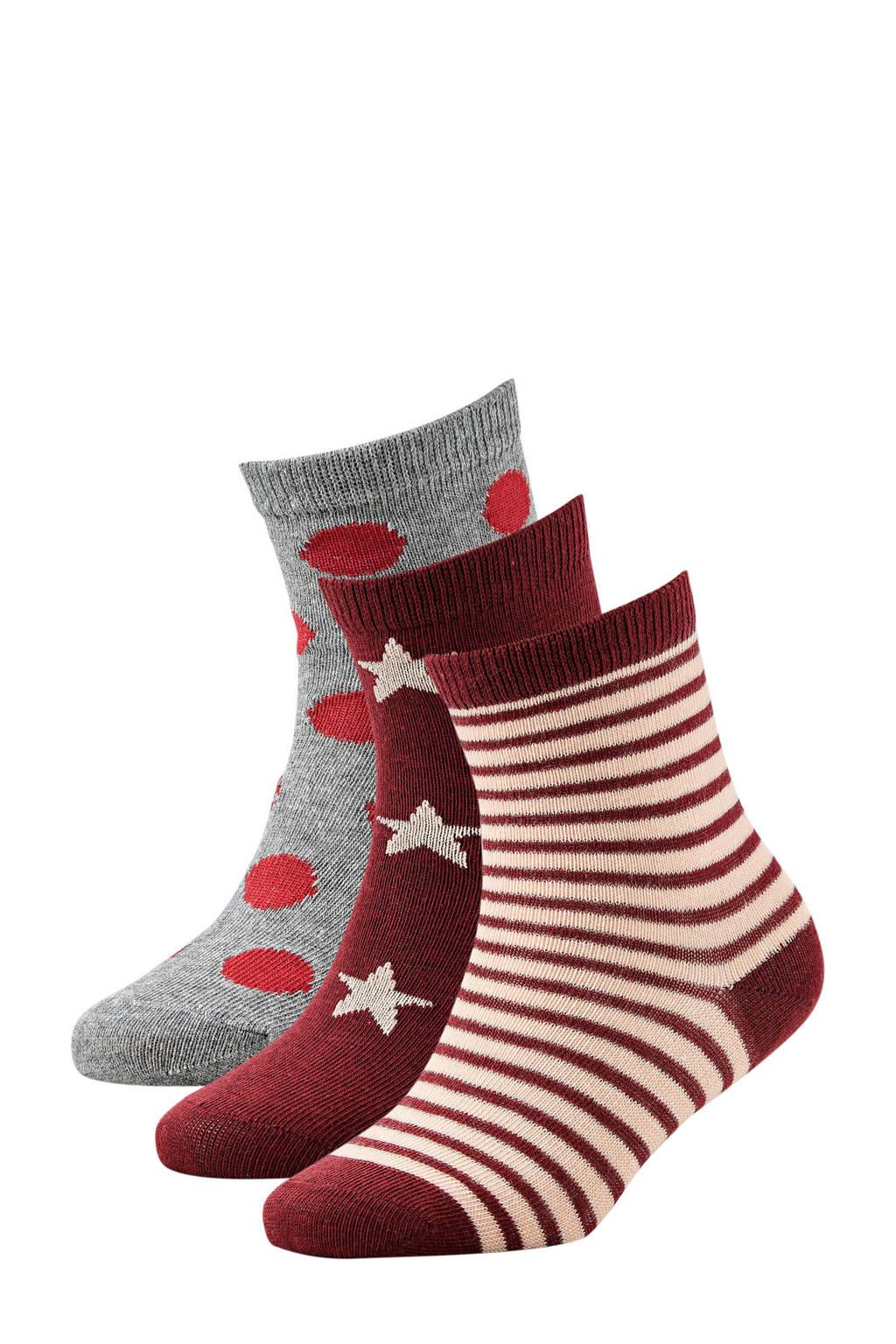 Apollo sokken donkerrood, Rood multi