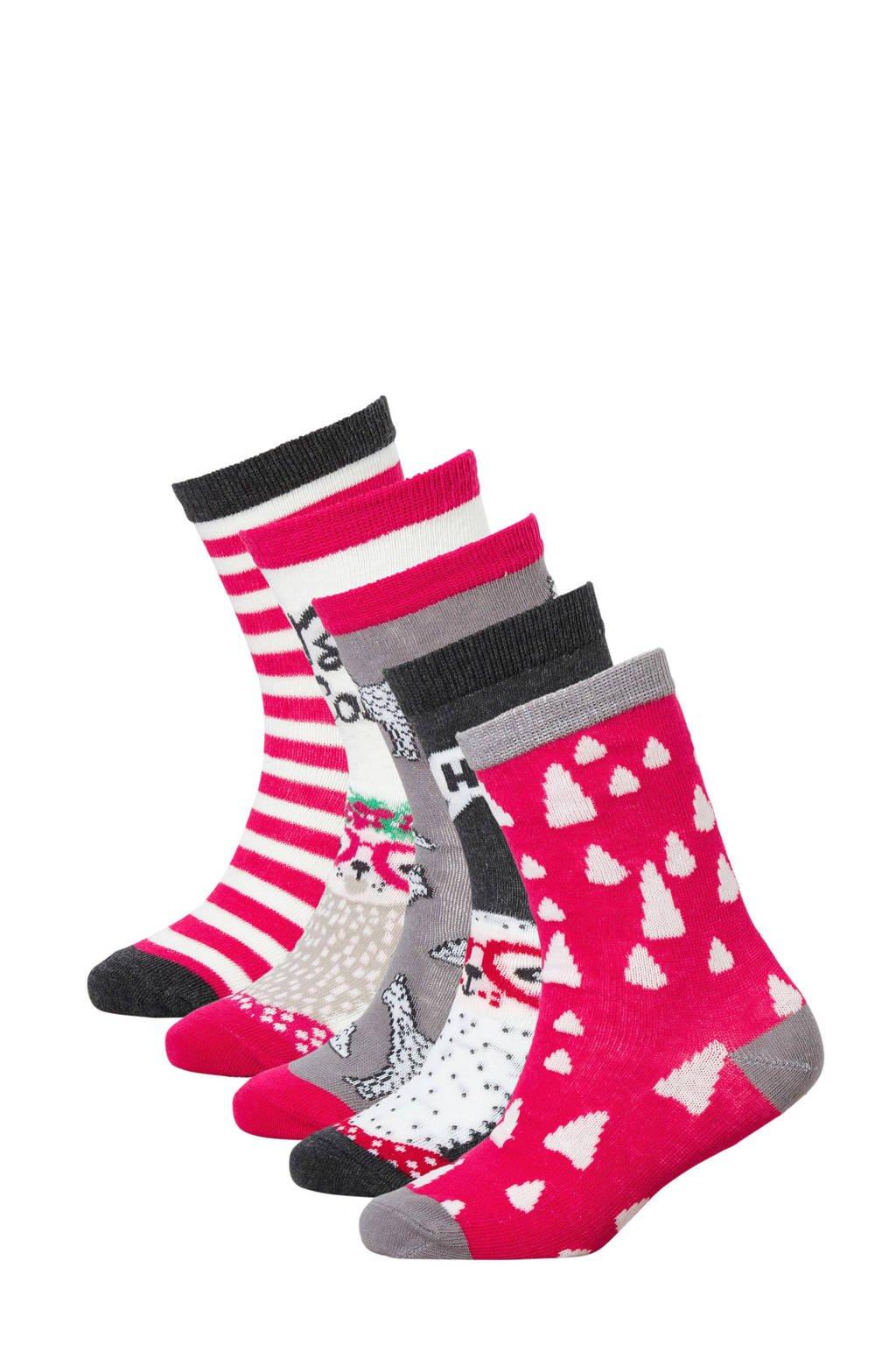 Apollo sokken ( 5 paar) roze, Roze multi