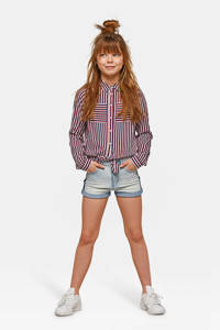WE Fashion Blue Ridge jeans short Peggy met borduursels light denim, Light denim