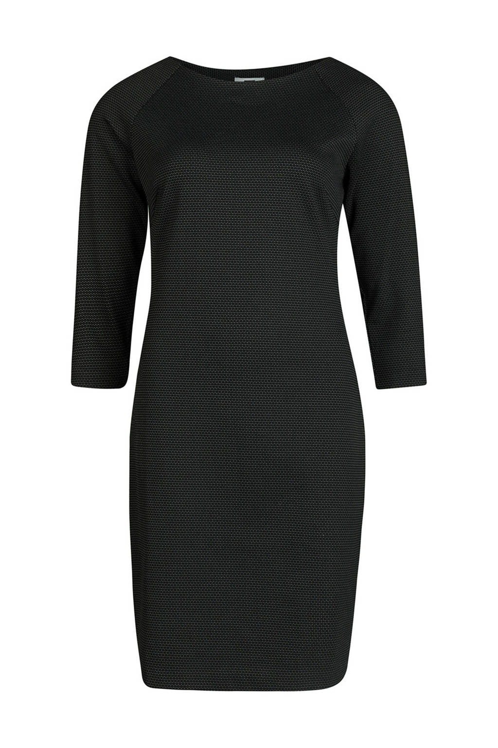 WE Fashion jurk met mini stippen zwart, Zwart