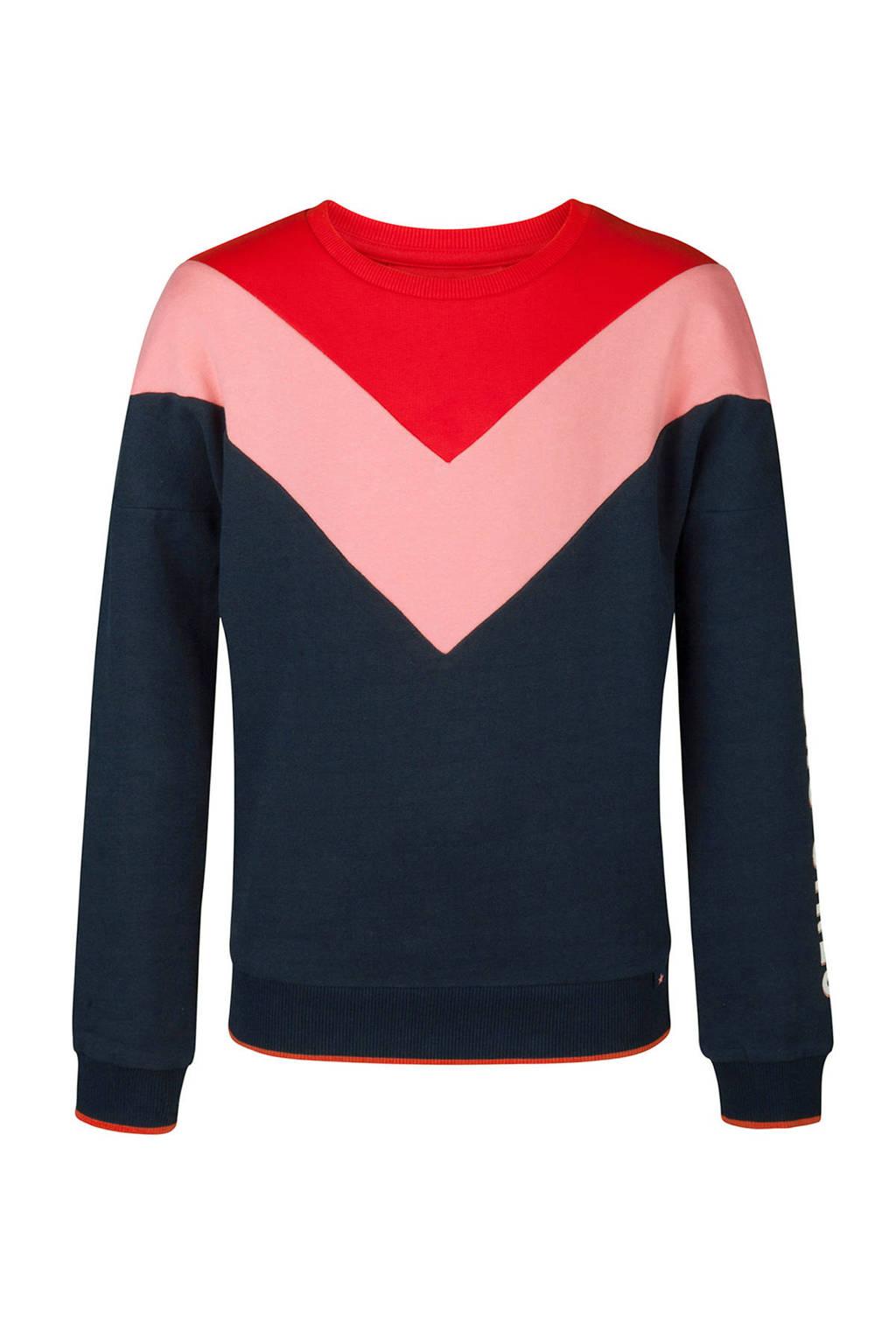WE Fashion sweater blauw, Blauw/rood/roze