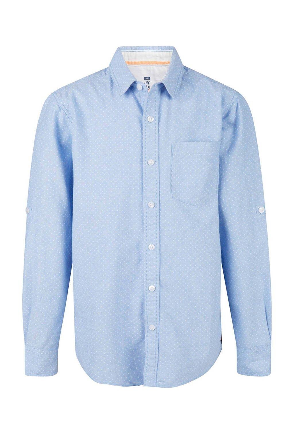 WE Fashion overhemd met grafischeprint blauw, Lichtblauw