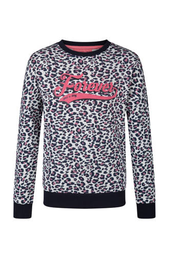 sweater met panterprint wit
