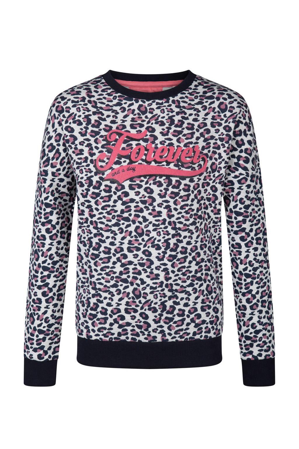 WE Fashion sweater met panterprint wit, Wit/zwart/roze