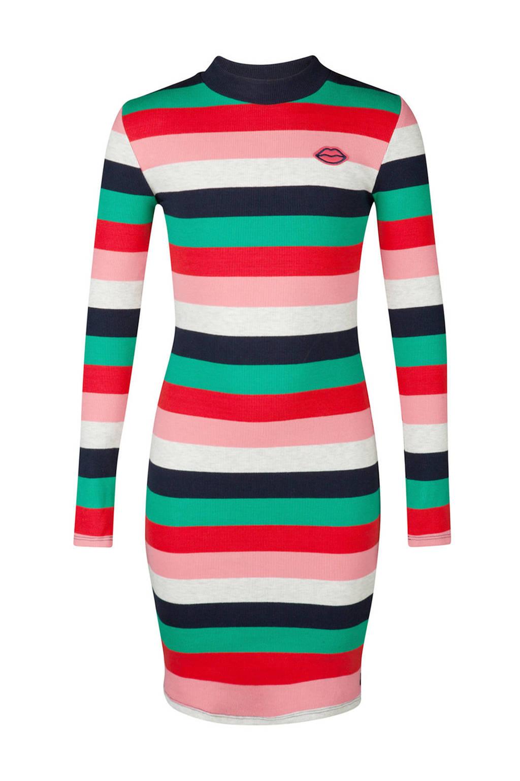 WE Fashion gestreepte jurk, Rood/mintgroen/roze