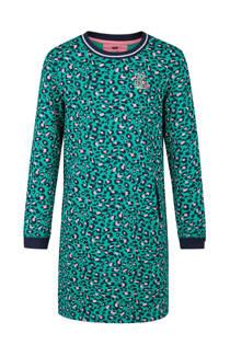 WE Fashion sweatjurk met panterprint turquoise