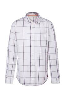 WE Fashion regular fit overhemd met ruitprint wit (jongens)