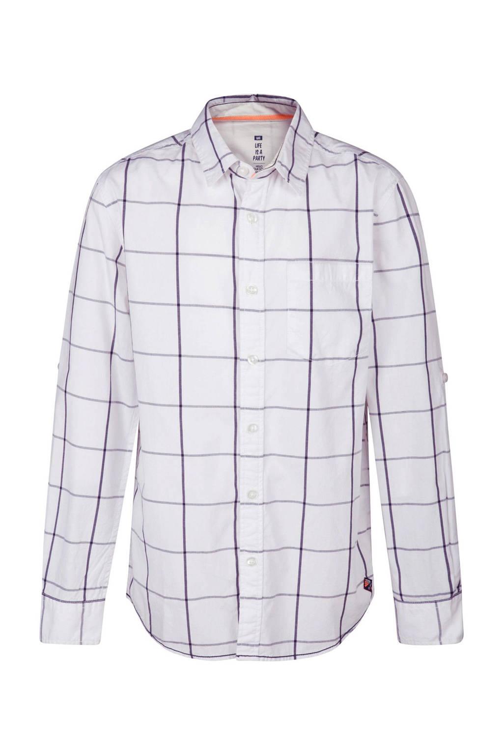 WE Fashion regular fit overhemd met ruitprint wit, Wit