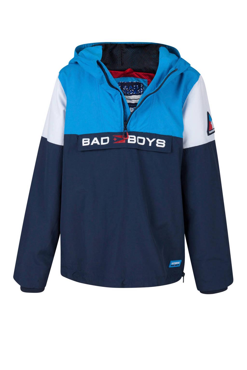 WE Fashion anorak met tekst blauw, Donkerblauw/blauw