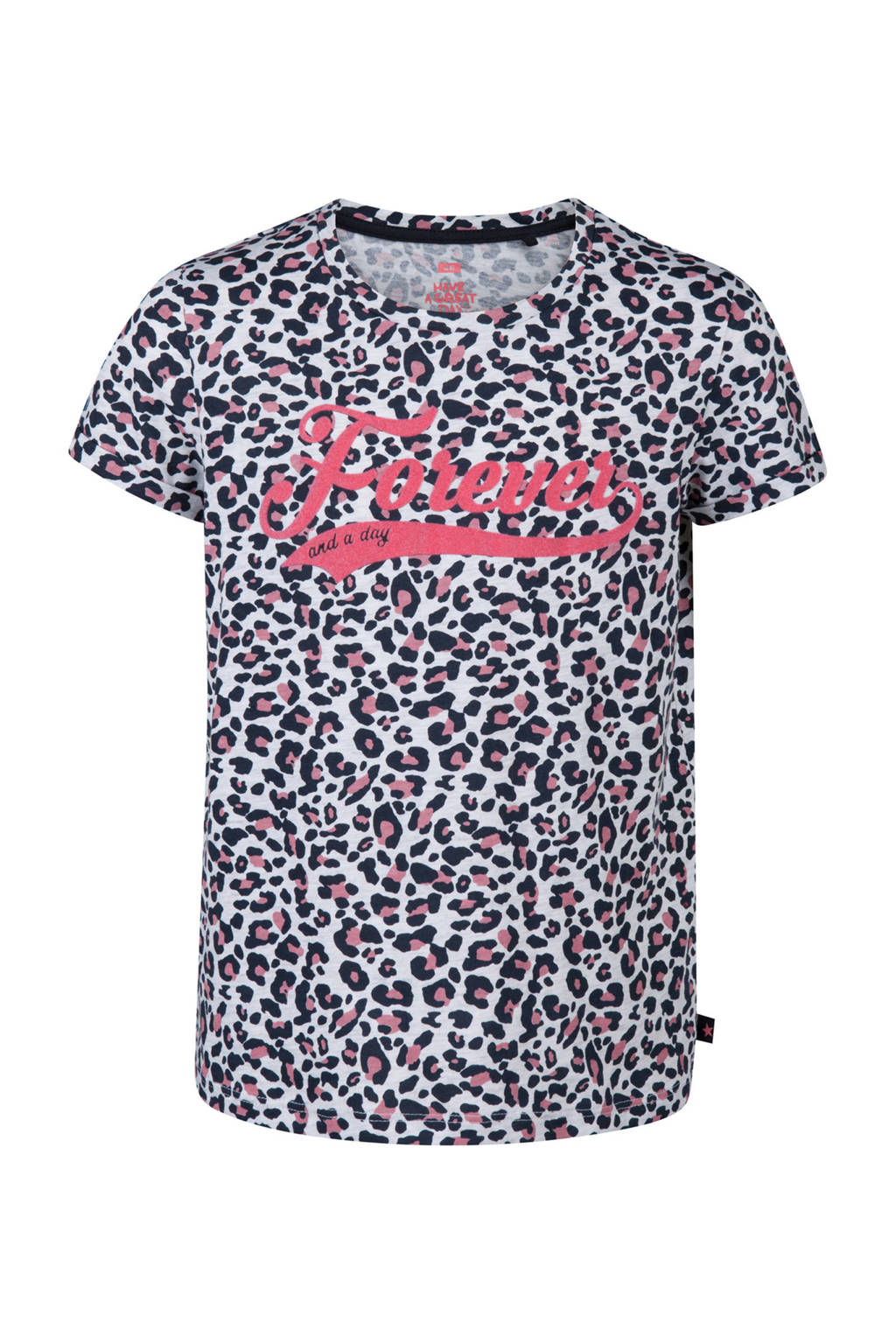 WE Fashion T-shirt met korte mouwen en panterprint, Off white/ zwart/ roze