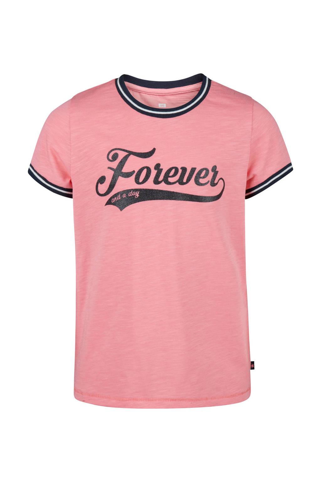 WE Fashion T-shirt met tekst roze, Roze/marine