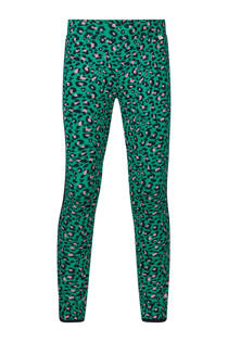 WE Fashion legging met panterprint groen (meisjes)