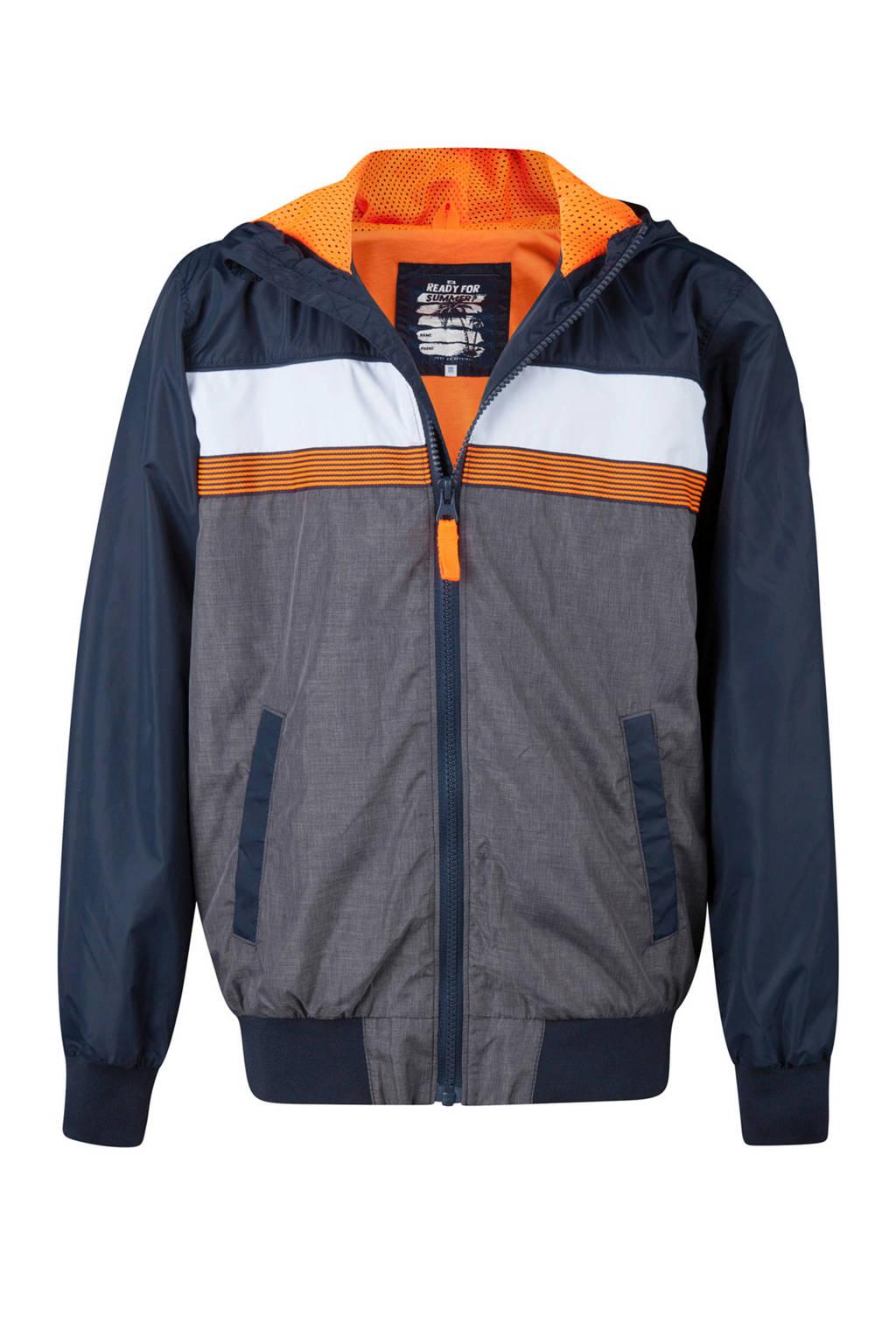 WE Fashion zomerjas grijs/blauw, Grijs/blauw/oranje