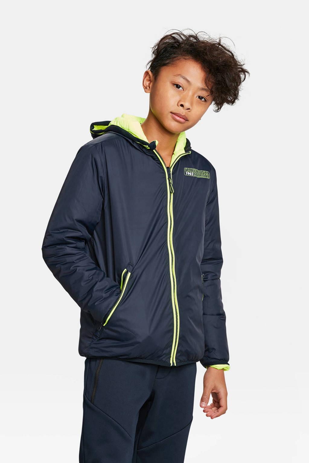 WE Fashion zomerjas donkerblauw/limegroen, Donkerblauw/limegroen