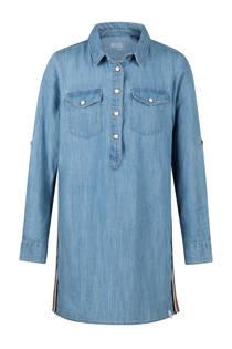 WE Fashion Blue Ridge lange spijkerblouse met zijstreep (meisjes)