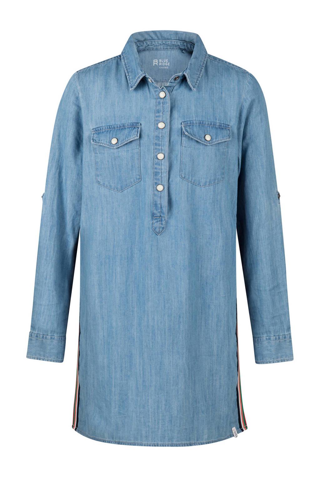 WE Fashion Blue Ridge lange spijkerblouse met zijstreep, Light denim