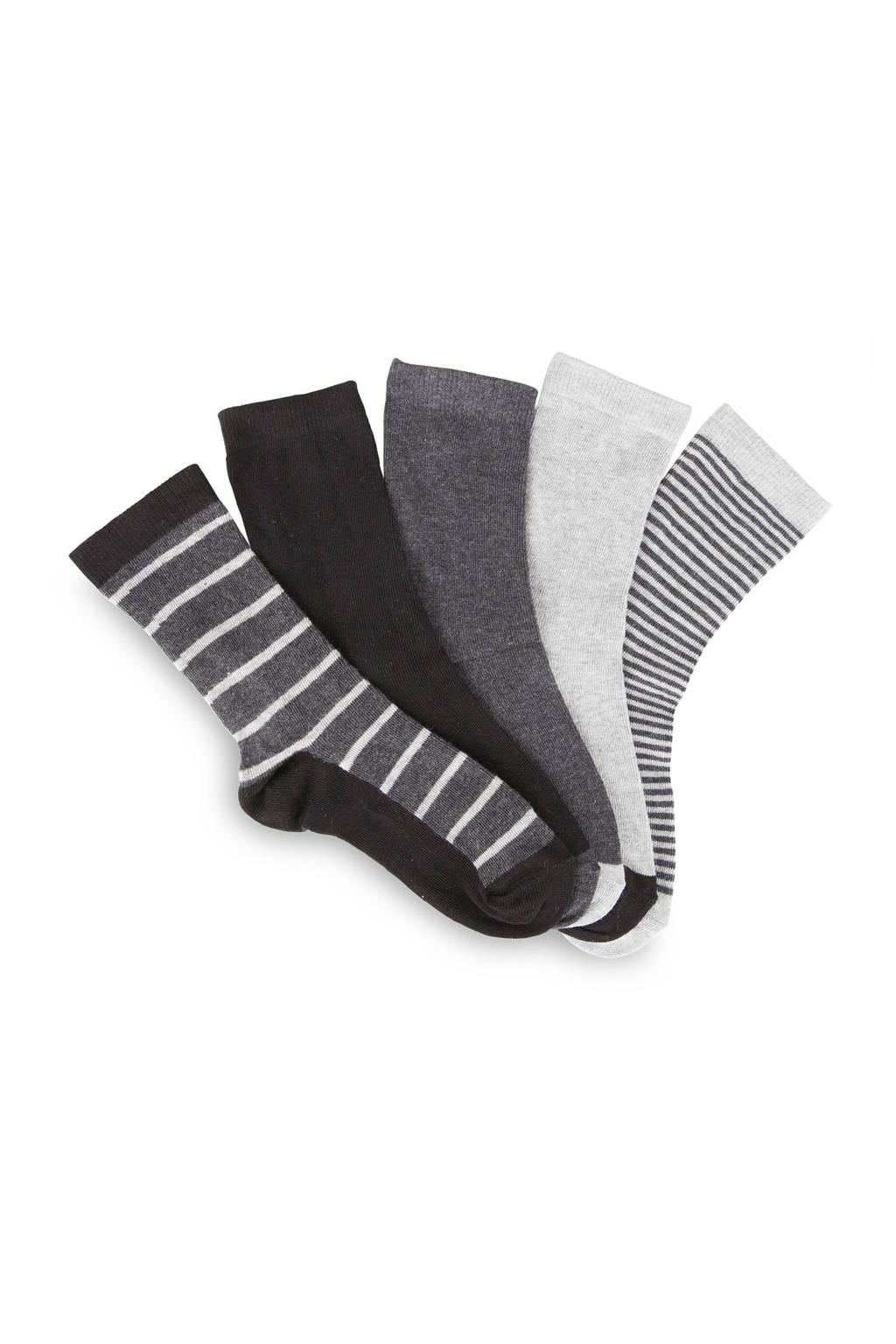 WE Fashion sokken (set van 5), Grijs