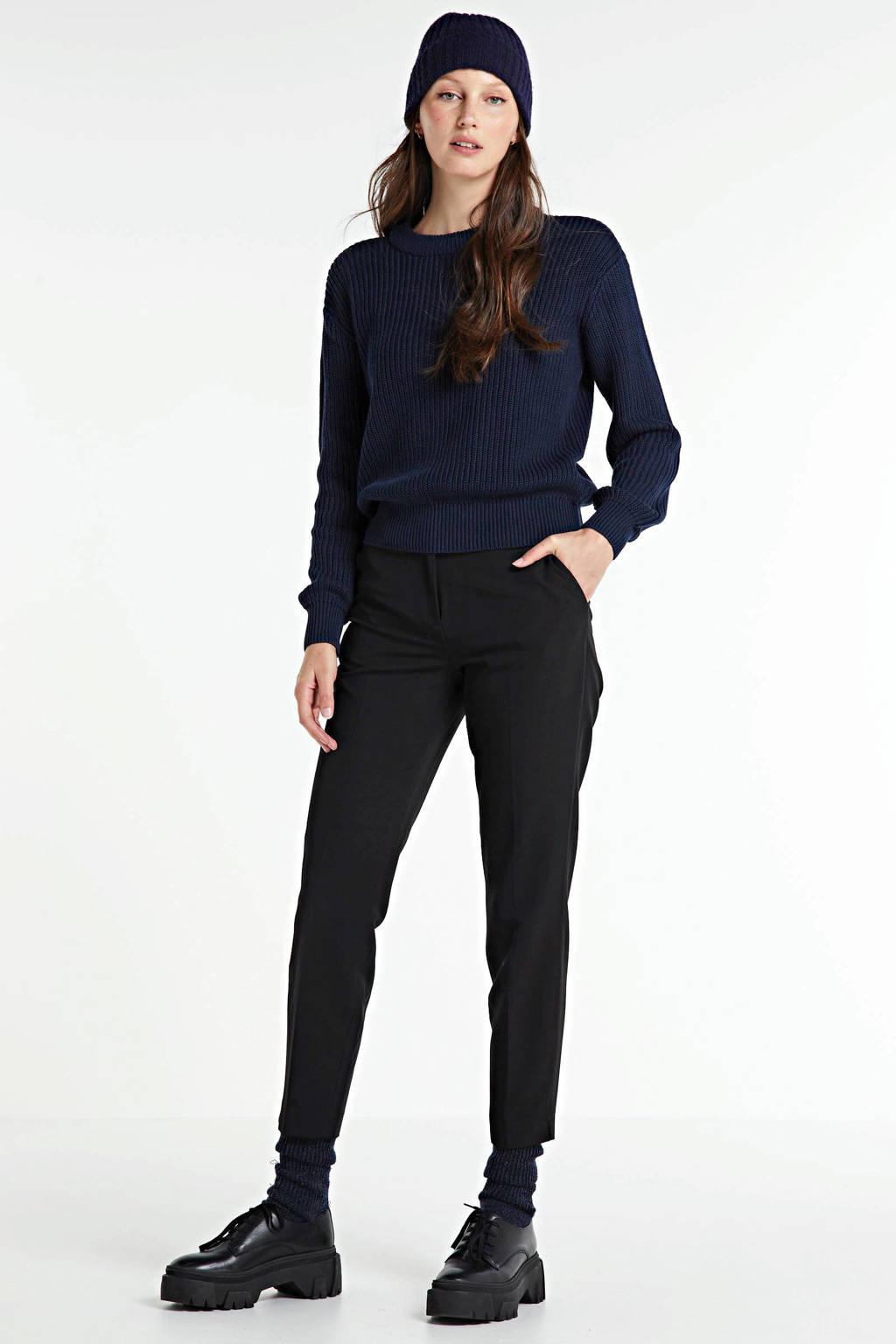 WE Fashion high waist slim fit pantalon zwart, Zwart