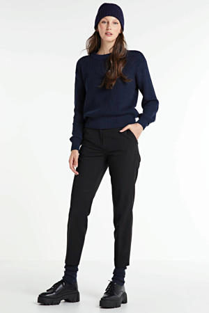 high waist slim fit pantalon zwart