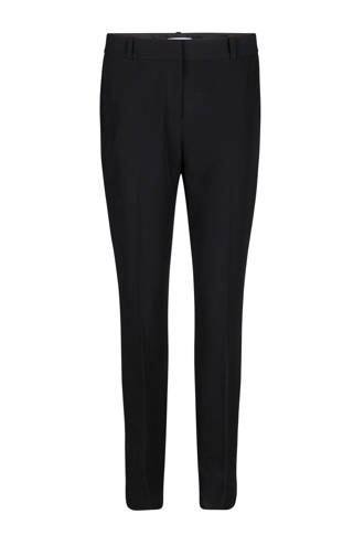 slim fit geweven pantalon zwart